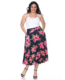Plus Flower Print Tasmin Flare Midi Skirts