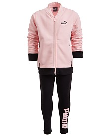 Puma Little Girls 2-Pc. Fleece Tricot Jacket & Leggings Set