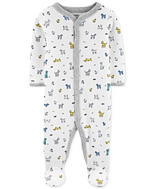 Baby Boys 1-Pc. Dog-Print Cotton Footed Pajamas