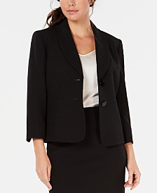 Kasper Shawl-Collar 3/4-Sleeve Jacket