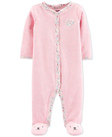 Baby Girls 1-Pc. Dot-Print Terry Footed Pajamas