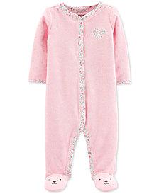 Carter's Baby Girls 1-Pc. Dot-Print Terry Footed Pajamas