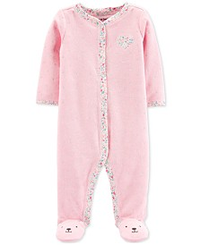 Carter's Baby Girls 1-Pc. Dot-Print Terry Footed Pajamas