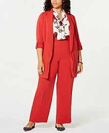 Plus Size Shawl-Collar Jacket, Printed Bow Blouse & Flare-Bottom Pants, Created for Macy's