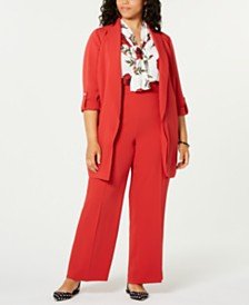 Bar III Plus Size Shawl-Collar Jacket, Printed Bow Blouse & Flare-Bottom Pants, Created for Macy's