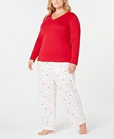 Plus Size Printed Pajama Set, Created for Macy's