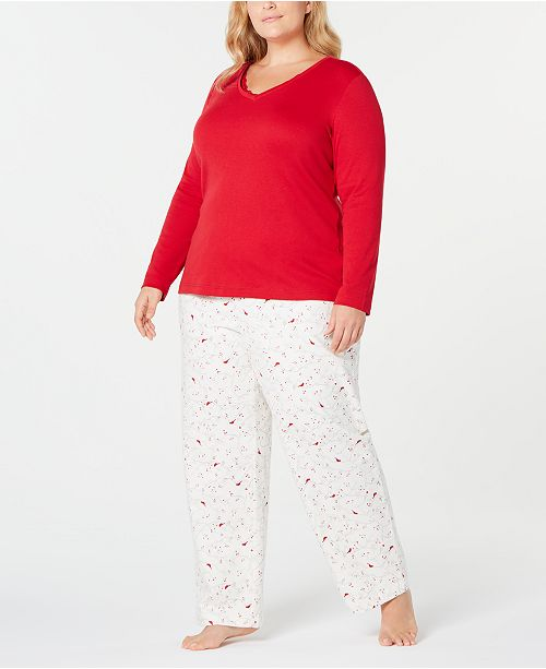 Charter Club Plus Size Printed Pajama Set, Created for Macy's