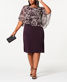 Trendy Plus Size Floral Chiffon Overlay Dress