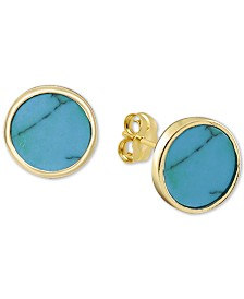 Argento Vivo Reconstituted Turquoise Stud Earrings in 18k Gold-Plated Sterling Silver