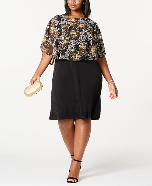 Connected Trendy Plus Size Chiffon Overlay Dress
