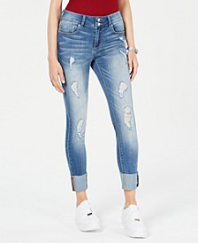 Juniors' Ripped Cuffed Straight-Leg Jeans