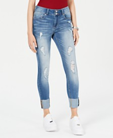 Indigo Rein Juniors' Ripped Cuffed Straight-Leg Jeans