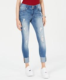 Indigo Rein Juniors' Ripped Cuffed Straight-Leg Jeans