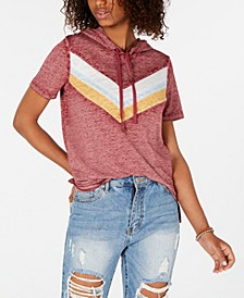 Juniors' Colorblock Stripe Short-Sleeved Hoodie