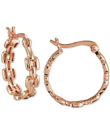 Giani Bernini Chain Hoop Earrings in 18k Rose Gold-Plate Over Sterling Silver, Created for Macy's