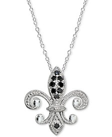 "Giani Bernini Black Cubic Zirconia Fleur-de-Lis Pendant Necklace in Sterling Silver, 18"" + 2"" extender"