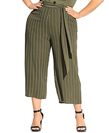 Trendy Plus Size Striped Flair Pants