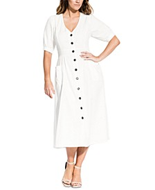 Trendy Plus Size Button-Down Midi Dress