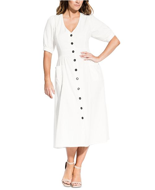 Trendy Plus Size Button-Down Midi Dress