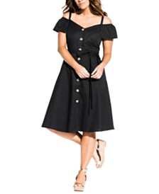 City Chic Trendy Plus Size Shoulder Affair Dress