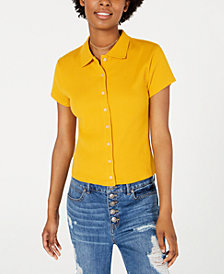 Planet Gold Juniors' Rib-Knit Button-Front Polo Shirt