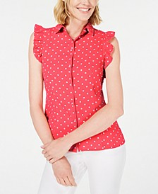 Dot-Print Ruffle-Sleeve Shirt