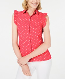 Anne Klein Dot-Print Ruffle-Sleeve Shirt