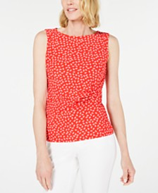 Anne Klein Leaf-Print Ruched Sleeveless Top