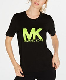 MICHAEL Michael Kors Logo-Print Neon Cotton T-Shirt, Regular & Petite