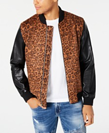 I.N.C. Men's Leopard Print Bomber Jacket, Created for Macy's