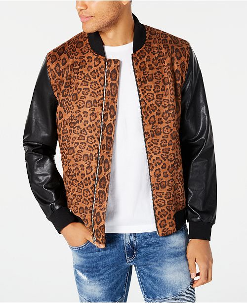INC International Concepts INC Men's Leopard Print Bomber Jacket, Created for Macy's