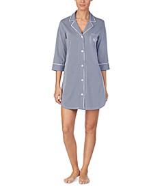Knit Notch Collar Cotton Sleep Shirt