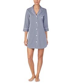 Lauren Ralph Lauren Knit Notch Collar Cotton Sleep Shirt