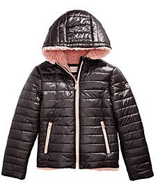 Michael Michael Kors Big Girls Faux-Fur-Lined Hooded Puffer Jacket