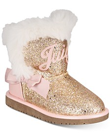 Toddler Girls Rose Gold Glitter Cozy Boots