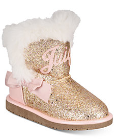 Juicy Couture Toddler Girls Rose Gold Glitter Cozy Boots