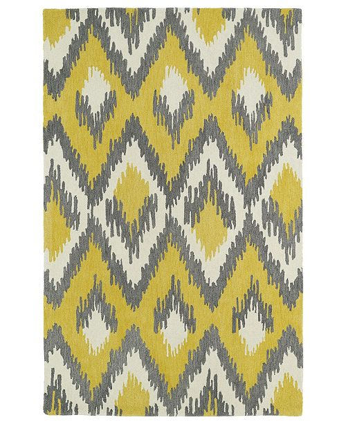 "Kaleen Global Inspirations GLB10-28 Yellow 3'6"" x 5'6"" Area Rug"