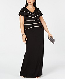 Plus Size Illusion-Detail Gown
