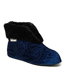 Women's Embossed Velour Bootie Slipper, Online Only