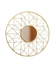 Abbyson Living Cera Round Gold Wall Mirror