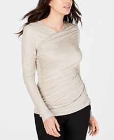 Elie Tahari Lana Metallic Wrap Knit Top