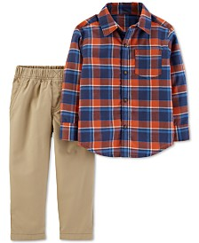 Carter's Toddler Boys 2-Pc. Cotton Plaid Button-Front Top & Khaki Pants Set