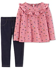 Toddler Girls 2-Pc. Butterfly-Print Top & Denim Leggings Set