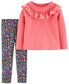 Carter's Toddler Girls 2-Pc. Ruffle Top & Floral-Print Leggings Set