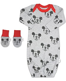 Baby Boys 2-Pc. Organic Cotton Minnie Mouse Gown & Mitts Set