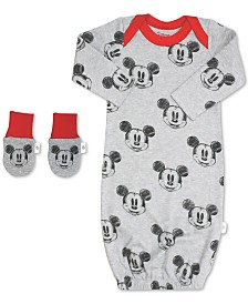 finn + emma Baby Boys 2-Pc. Organic Cotton Minnie Mouse Gown & Mitts Set