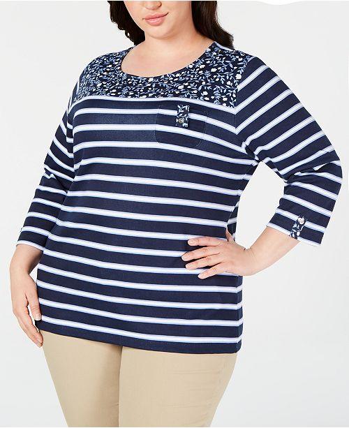 Karen Scott Plus Size Printed 3/4-Sleeve Top, Created for Macy's
