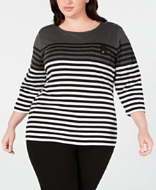 Karen Scott Plus Size Striped Pocket Top, Created for Macy's