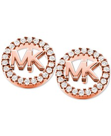 Michael Kors Sterling Silver Crystal Logo Stud Earrings