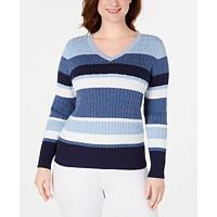 Macys deals on Karen Scott Womens Petite Cotton Striped Cable-Knit Sweater